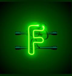 Neon font letter f art design singboard vector