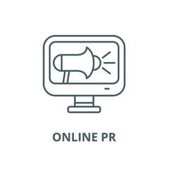 Online pr line icon linear concept vector