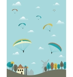 Paragliders over the country vector