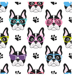 Pattern with french bulldogs with glasses vector