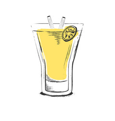 Pineapple cocktail hand drawn in sketch retro vector