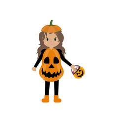 Pumpkin halloween costume vector