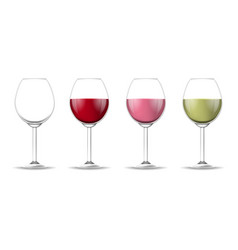 realistic detailed 3d different types wine glass vector image