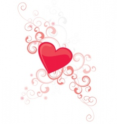 Red heart with flourishes vector