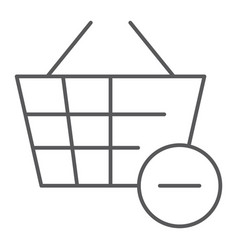 Remove from bucket thin line icon shopping and vector