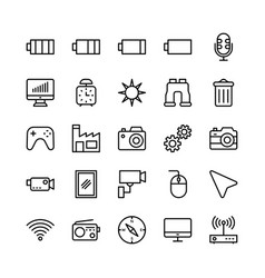 Science and technology line icons 13 vector