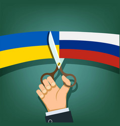 Scissors cut the flags of russia and ukraine vector