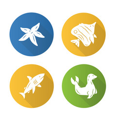 sea animals flat design long shadow glyph icons vector image