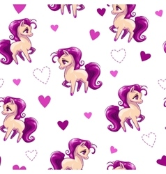 Seamless pattern for girls with little horse vector image vector image