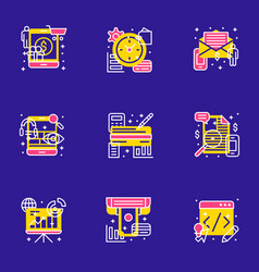 set of 9 flat line business icons flat line vector image
