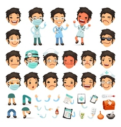 Set of Cartoon Woman Doctor Character for Your vector