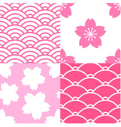 set of seamless patterns with sakura and waves vector image