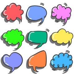 Set of text balloon colorful style vector