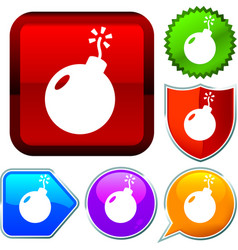 Set shiny icon series on buttons bomb vector