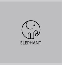 Simple elephant logo line design template vector