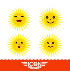 sun emotion cartoon vector image