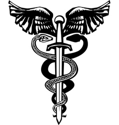 Sword Caduceus vector