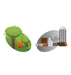 technological process deforestation and vector image