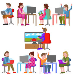 teenagers playing video games vector image