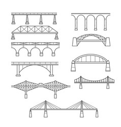 Types of bridges in linear style set vector
