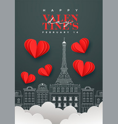 valentines day chalk paris city doodle heart card vector image
