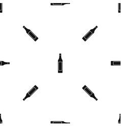 Vinegar bottle pattern seamless black vector