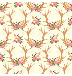 Vintage seamless pattern with deer antlers and vector image