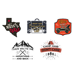 Vintage travel logos patches set hand drawn vector