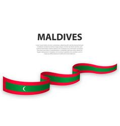 Waving ribbon or banner with flag maldives vector