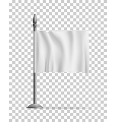 white waving flag streamer template isolated vector image