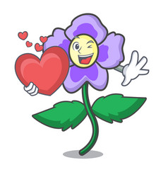 with heart pansy flower mascot cartoon vector image
