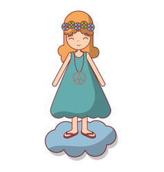 woman in cloud peace and love vector image