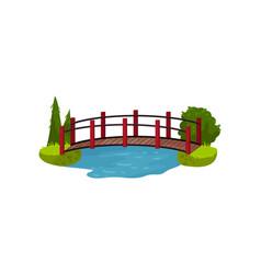 wooden bridge over blue pond or river timber vector image
