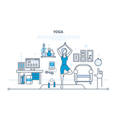 yoga interior of room furniture for relaxing vector image