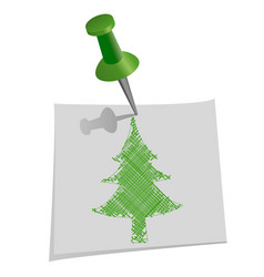 christmas tree drawn by hand on paper for notes vector image