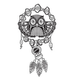 indian dream catcher with ethnic ornaments and owl vector image