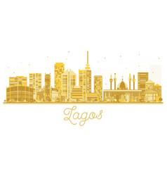 lagos city skyline golden silhouette vector image vector image