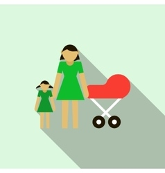 Mother with daughter and baby in red pram icon vector image