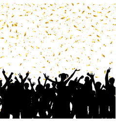 party crowd on gold confetti background vector image vector image