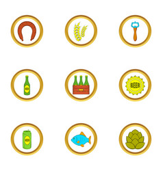 beer and food icons set cartoon style vector image