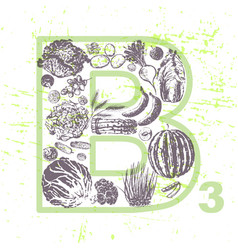 ink hand drawn fruits and veggies vitamin b3 vector image