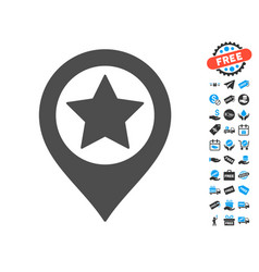 star map marker icon with free bonus vector image vector image