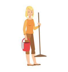 Woman with bucket and a mop cartoon adult vector
