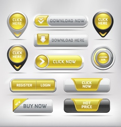Yellow Glossy Web Elements Button Set vector image vector image