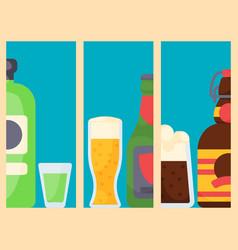 Alcohol drinks cards beverages cocktail bottle vector