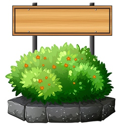 An empty wooden signboard above the plant vector image