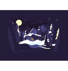 House in woods winter vector image