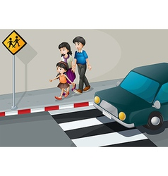 A family walking at the street vector image