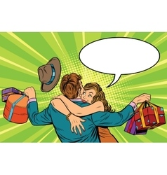 couple man and woman the joy of gifts vector image vector image