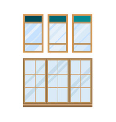 different types house windows elements isolated vector image